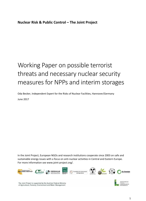 Working Paper on possible terrorist threats and necessary nuclear security measures for NPPs and interim storages -  Oda Becker (ENG)