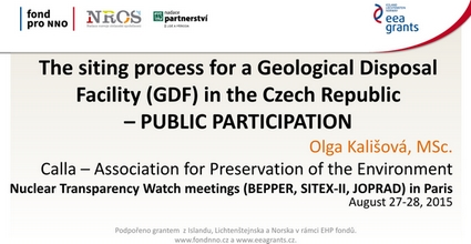 The siting process for a Geological Disposal Facility in the Czech Republic – PUBLIC PARTICIPATION [anglicky]