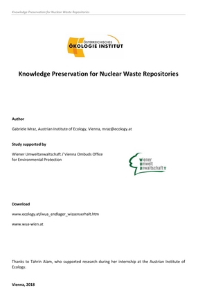 Knowledge Preservation for Nuclear Waste Repositories (ENG)