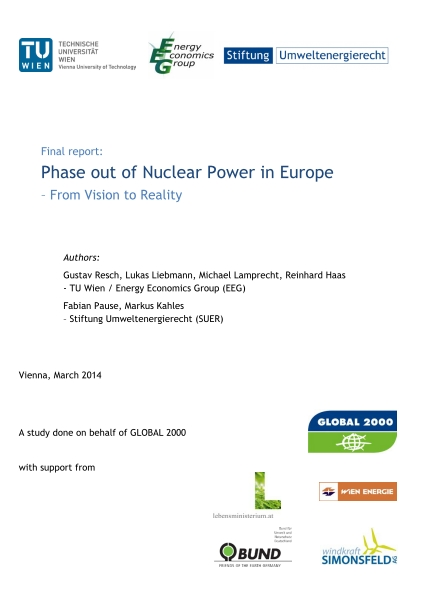 Phase out of Nuclear Power in Europe – From Vision to Reality - Global 2000 (ENG)